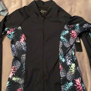 activewear zip up with pineapples